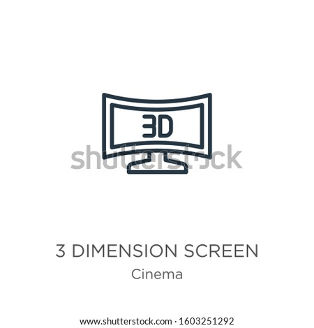 3 dimension screen icon. Thin linear 3 dimension screen outline icon isolated on white background from cinema collection. Line vector sign, symbol for web and mobile