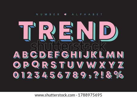 3 dimensional alphabet and number set. Modern tricolor bold font or typeface for headline, title, poster, brochure or graphic print. Flat vector 3D letters on black background. Photo stock ©