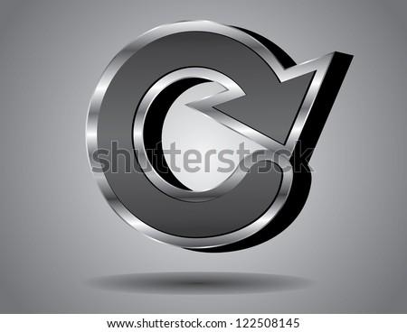 3-dimensional icon symbol capital letter C