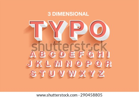 3 dimensional typography typeface font vector illustration 290458805 shutterstock