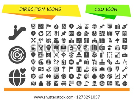 direction icon set. 120 filled direction icons. Simple modern icons about  - Escalator, World, Labyrinth, Map, Flag, Compass, Gps, Pin, Escalator down, Cableway, Redo, Transform