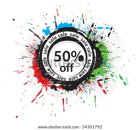50% discount banner, shopping concept grunge vector Illustration - stock vector