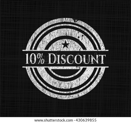 10% Discount chalkboard emblem on black board