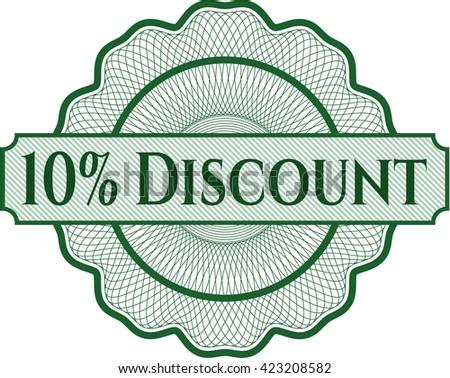10% Discount inside money style emblem or rosette