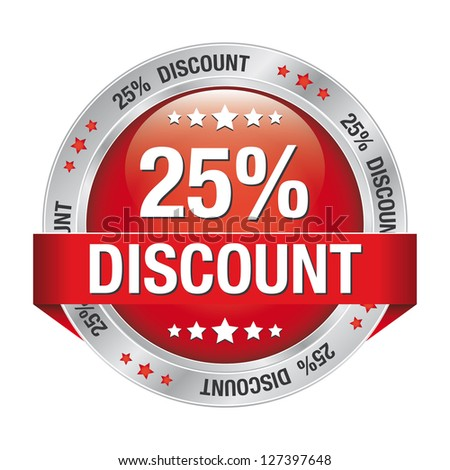25 discount red silver button isolated background