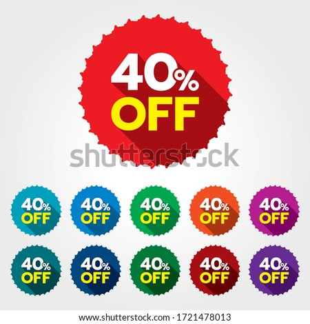 40% discount sticker. 40% off sale multi-color tag isolated vector illustration. Discount price label. Symbol for advertising campaign in retail. 40% discount sale promo.