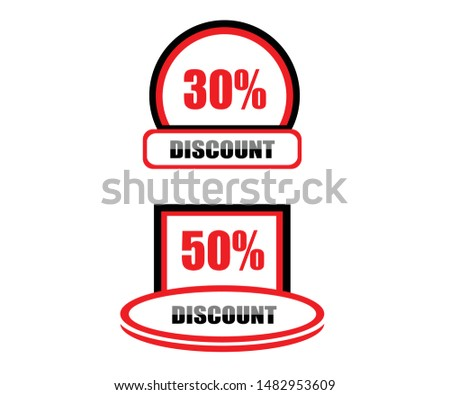 30 discounts, 50 discounts, Sales Vector Badges for Labels ,, Stickers, Banners, Tags, Web Stickers, New offers. Banner discount.