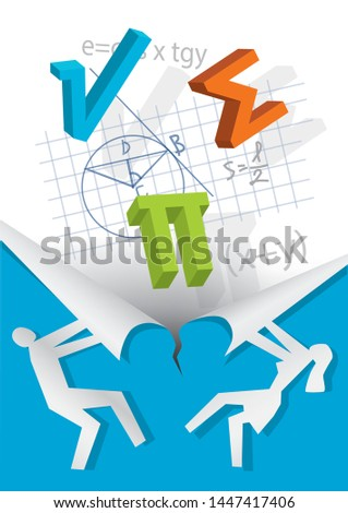 Discover Mathematics, education concept. Male an fwmale silhouette ripping paper with mathematical formulas and symbols. Vector available.
