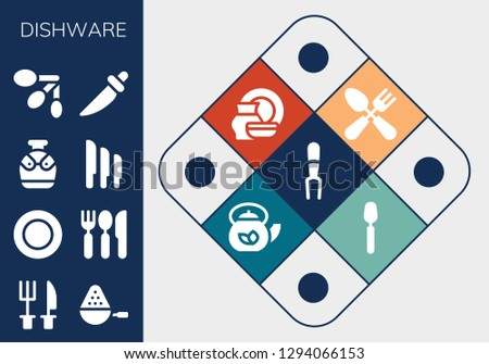 dishware icon set. 13 filled dishware icons. Simple modern icons about  - Fork, Cutlery, Spoon, Plate, Canteen, Knives, Spoons, Knife, Porcelain, Teapot