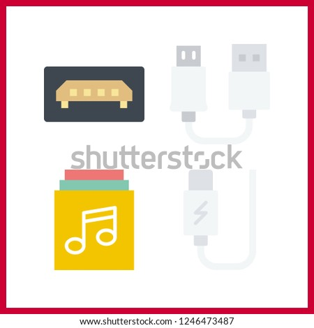 4 disk icon. Vector illustration disk set. music album and usb icons for disk works