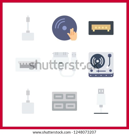9 disk icon. Vector illustration disk set. turntable and vinyl icons for disk works
