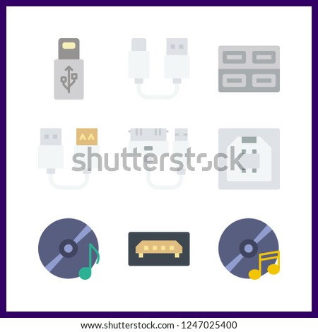 9 disk icon. Vector illustration disk set. usb and compact disc icons for disk works