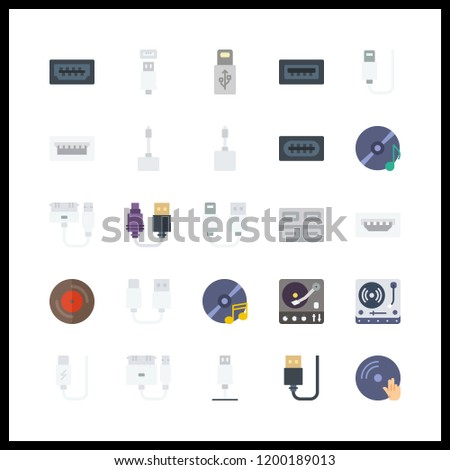 25 disk icon. Vector illustration disk set. usb and turntable icons for disk works