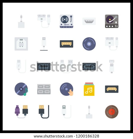 25 disk icon. Vector illustration disk set. vinyl and usb icons for disk works