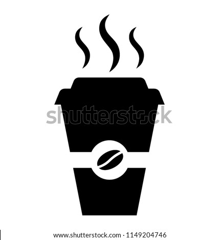Disposable cup with steas of hotness popping out, making coffee icon