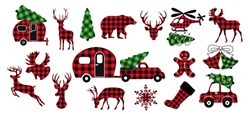 Diverse collection of Christmas design elements. Buffalo plaid festive decor. Variety of checkered objects on a white background. Vector illustration.