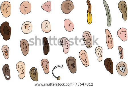 29 diverse human and fantasy ears with pierced and hearing aid versions - stock vector