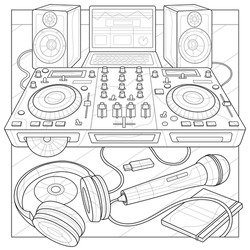 DJ console, microphone, headphones, laptop and speakers.Coloring book antistress for children and adults. Illustration isolated on white background.Zen-tangle style.