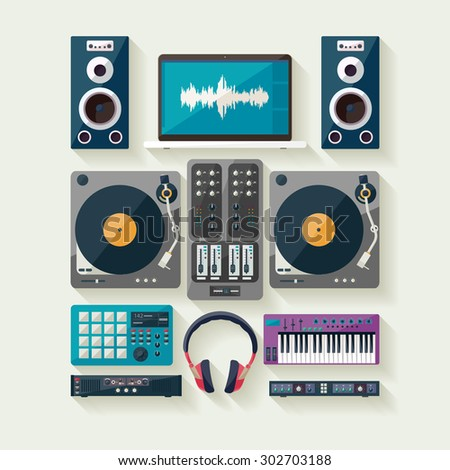 dj equipment flat design