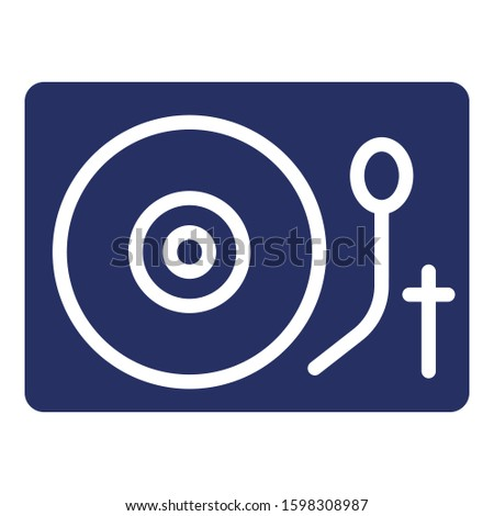 Dj, turntables, vinyl Isolated Vector icon which can easily modify or edit