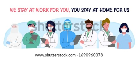 doctor and Nurses and medical personnel team for fighting the coronavirus. Thank you heroes, vector illustration