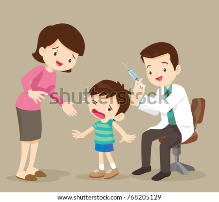 Doctor take vaccine for kid.The child is afraid of injection. Caring for immunity. Healthcare.Scared Little Boy About to Have an Injection.