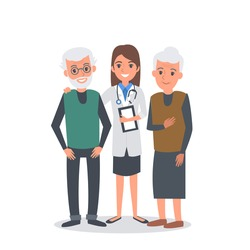 Doctor with elderly patients. Vector concept illustration.