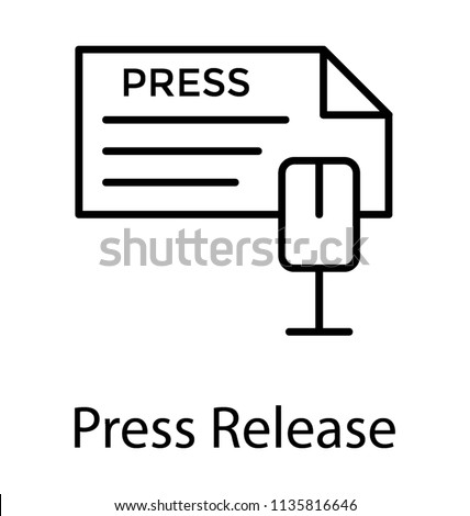 Document with press text and a microphone showing icon for press release
