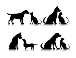 dog and cat silhouettes of animals