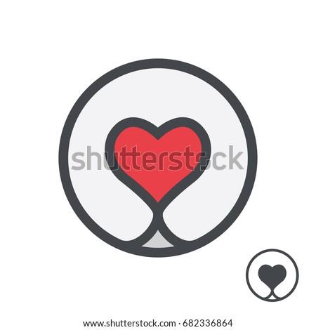 Dog nose in form of heart logo template.  Vector illustration.