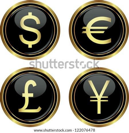 Dollar, euro, yen and pound icons. Vector illustration