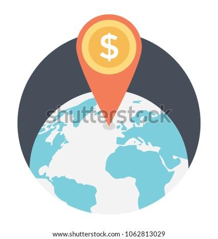 Dollar location pin on globe. Flat icon