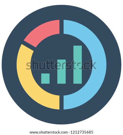 Donut graph with bar graph, donut graph, Isolated Vector icons that can be easily modified or edit