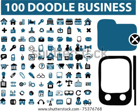 100 doodle business icons, signs, vector