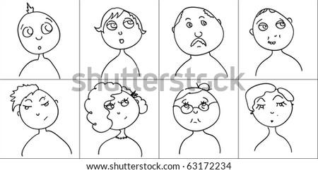 doodle funny faces set