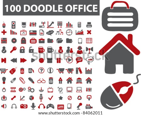 100 doodle icons, signs, vector illustrations