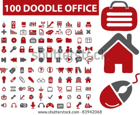 100 doodle office icons, signs, vector illustration