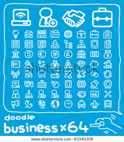 64 doodle series | business ,internet,communication,office icon set