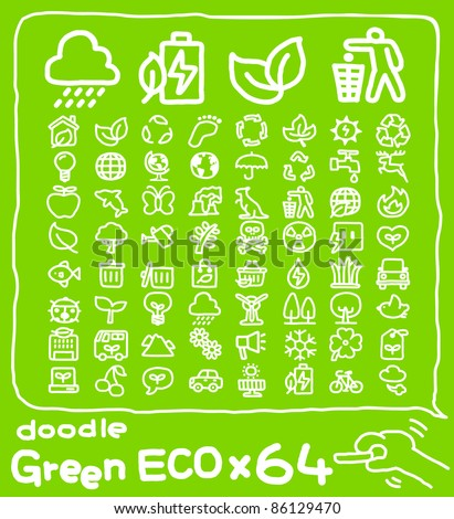64 doodle series |  ECO,Environment ,Green icon set