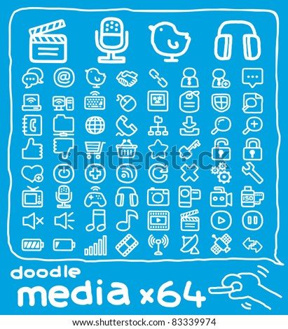 64 doodle series | media,internet,communication icon set