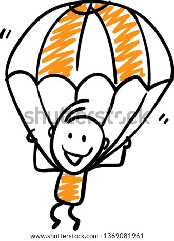 Doodle style vector illustration object isolated hand draw parachute