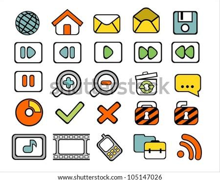 40 doodle web icons on white background