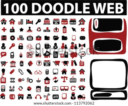 100 doodle web icons set, vector - stock vector