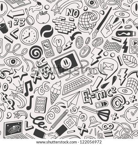 doodles -  seamless pattern - stock vector