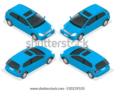 3 door hatchback car isolated