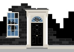 10 downing street as ruin - metaphor of political collapse,decay and trouble of British government and Prime minister. Vector illustration.