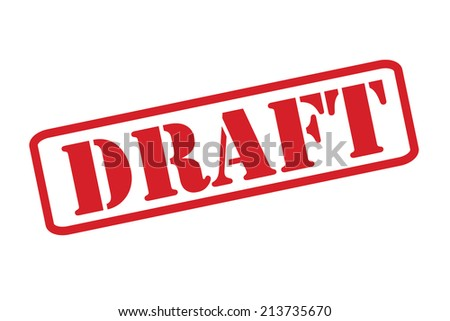 'DRAFT' red rubber stamp vector over a white background.