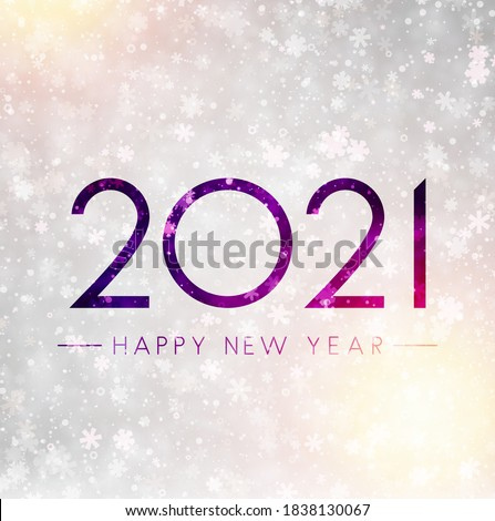 2021 drawn on misted glass. Happy new year sign. Bright background with multicolored lights and snowflakes. Vector holiday illustration.