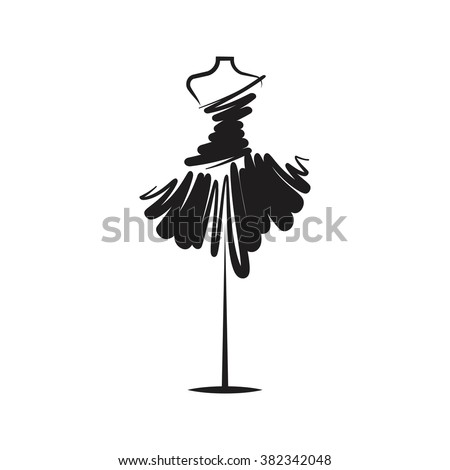 dress black mannequin illustration