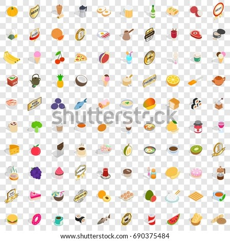 100 drinks icons set in